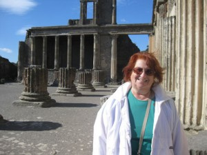 Eileen Entin of Diamond Cruise and Travel enjoys a sunny day amid the ruined city in Pompeii, Italy. A veteran of more than 150 cruises, Entin's Italian tour was part of a Mediterranean cruise from Rome to Venice. Photo: Diamond Cruise and Travel.