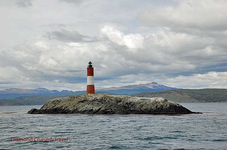 Lighthouse on a rocky outcropping in Beagle Channel.